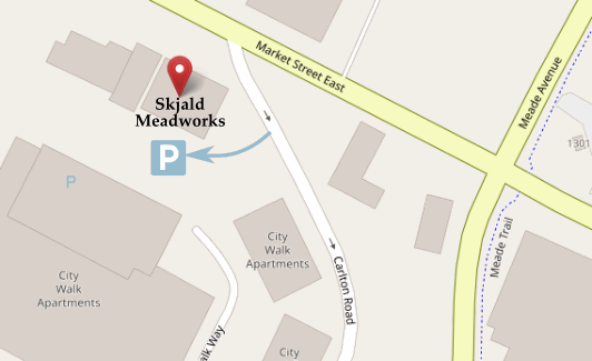 Map showing location of Skjald Meadworks on East Market Street